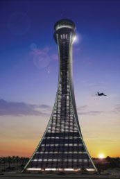 The 110m high control tower at Abu Dhabi International Airport, which was designed by ADPI.