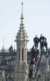 In February, campaigners against a third runway at London Heathrow demonstrated from the roof of the UK Houses of Parliament.