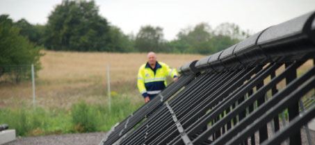 "The solar heat installation at Malmo. Chetkovich: ""Our message is that we have a licence-to-grow perspective – that is, to develop our airports so that we create accessibility and competitiveness, but with clear responsibility for the environment, where we do everything we can to minimise our impact."""
