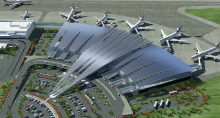 Mauritius Airport, designed by ADPI. Photovoltaic panels have been integrated into the entrance canopies.