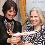 Jordanian Minister of Tourism Dr. Haifa Abu Ghazaleh receives a gift from easyJet CEO Carolyn McCall at the launch of services from London Gatwick to Amman in March.