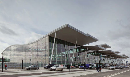 Frontal view of Wroclaw Airport.