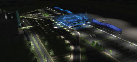 Computer generated representation of the new passenger terminal currently being planned at Zagreb Airport.