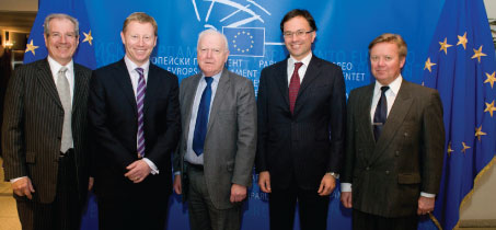 Vernhes, Sinclair, Brunini and Langeland met with Philip Bradbourn MEP (pictured centre)