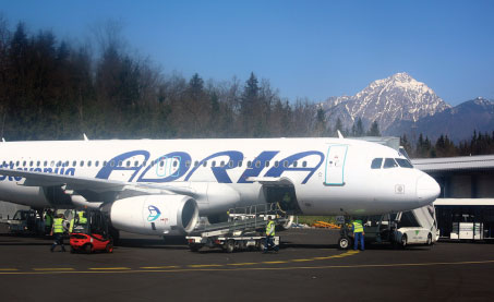 Photograph of a Adria Airways plane.