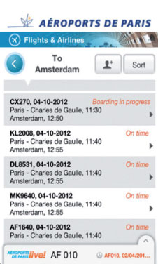 The Aéroports de Paris smartphone app.