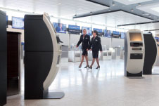 The check-in and self-tagging kiosks at London-Gatwick Airport.