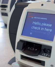 British Airways check-in kiosks.