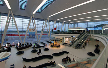 The €102 million SkyCourt, which opened in March 2011, is at the heart of the airport's modernisation programme. SkyCourt is a centrally located building linking Terminals 2A and 2B, which increased the capacity of Terminal 2 from 5 million passengers per year to 8.5 million.