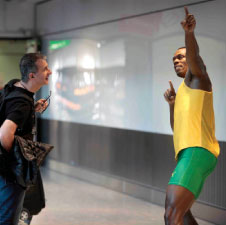 A Usain Bolt wax figure was unveiled in London-Heathrow's Terminal 5, courtesy of Madame Tussauds.