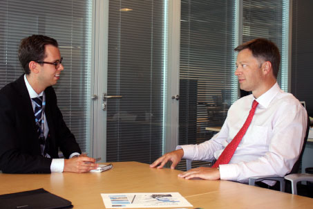 Airport Business' Andreas Akerman (left) and Brussels Airport's CEO, Arnaud Feist (right)