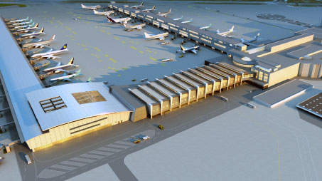 A 3D concept of Brussels Airports new Connector building.