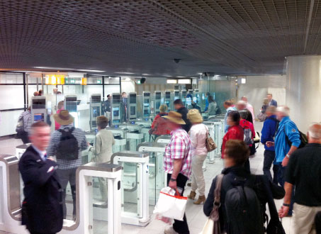 Passengers using the automated border control technology