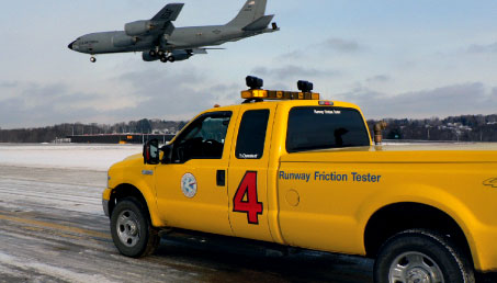 The Dynatest Runway Friction Tester is fully integrated to a vehicle.