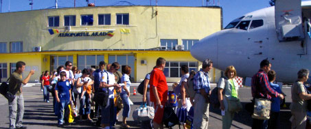 Passengers boarding a flight at Arad International Airport