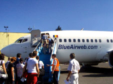 Passengers at Arad International Airport embarking on a BlueAirweb.com flight.