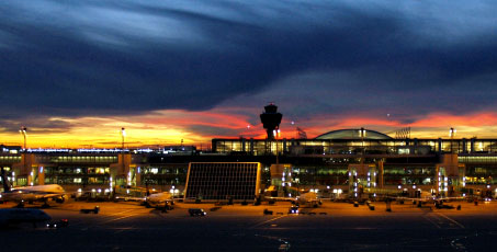 Munich Airport at dusk