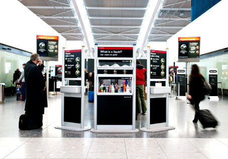The LAGs display at London Heathrow Airport, explaining the LAGs restrictions to passengers.
