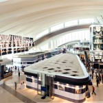 The new Bradley West Terminal at Los Angeles International Airport includes vast digital screens and an 80m-high digital clock tower, which passengers can interact with using their smartphones and tablets. (Photo © Moment Factory.)