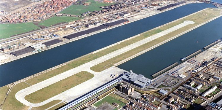 The recently completed London City Airport in 1987. Copyright: Vic Abbott.