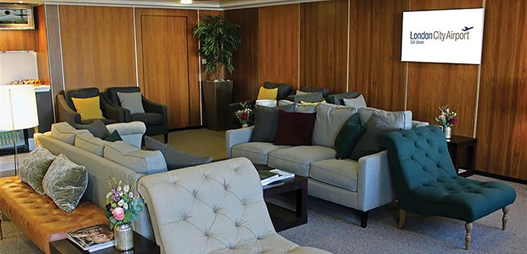 The new Business Lounge at London City Airport can accommodate 30 guests at a time.