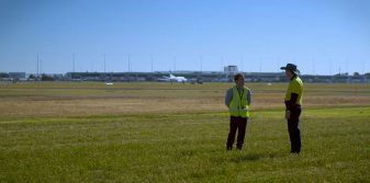 Airlines may reduce take-off fuel burn in temperature-reducing irrigation and cultivation trial at Adelaide Airport