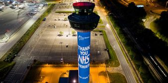 London Stansted's eye-catching NHS tribute lights up control tower